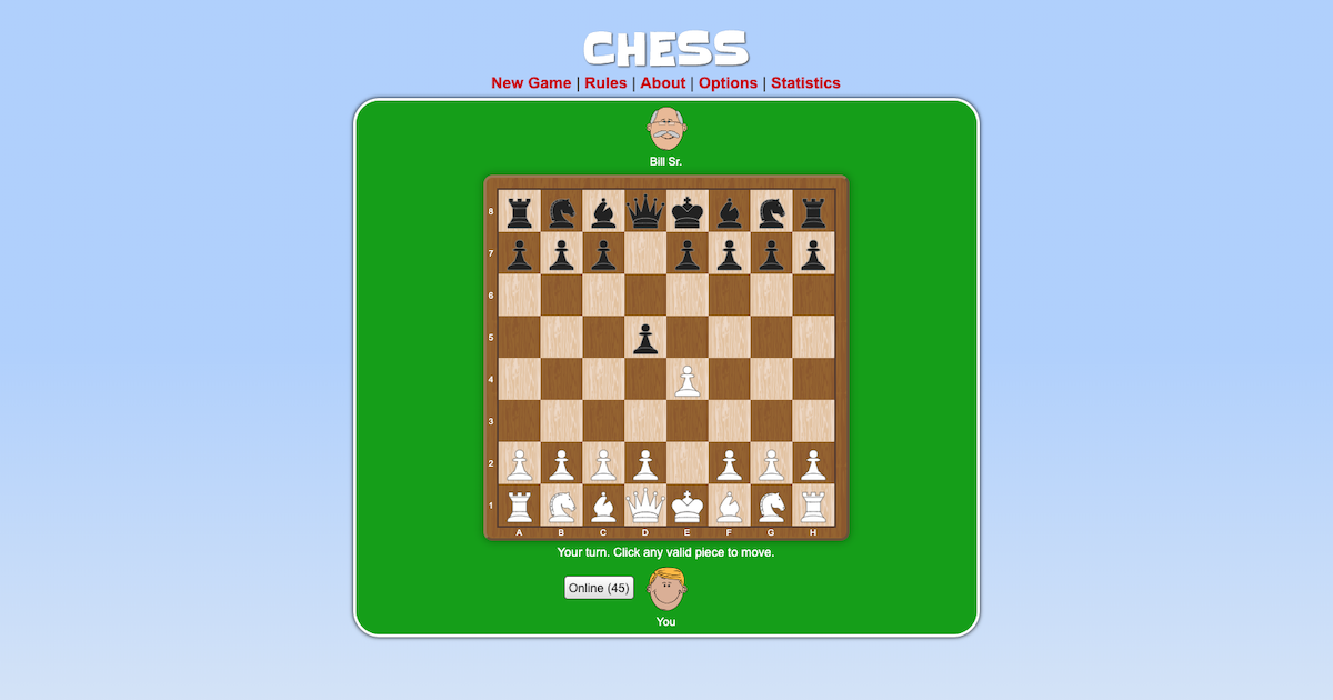 Chess  Play chess online, against the computer or online players. Great free chess site!