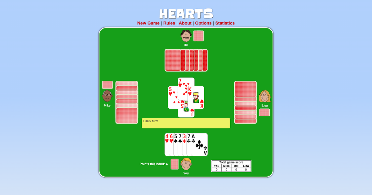 free card games online hearts
